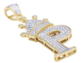 """14K Gold Plated 925 Silver Round Cut White CZ Crown Initial Letter """"P"""" Pendant - $146.99"""