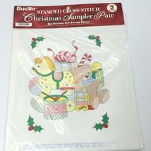 Bucilla Xmas Cross Stitch Sampler Snowman Santa Reindeer Partridge Wreath 1995 - $9.99