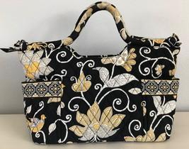 "Vera Bradley Yellow Bird Tote Handbag Quilted Purse Yellow White Black 14 x 8.5"" - $33.85"