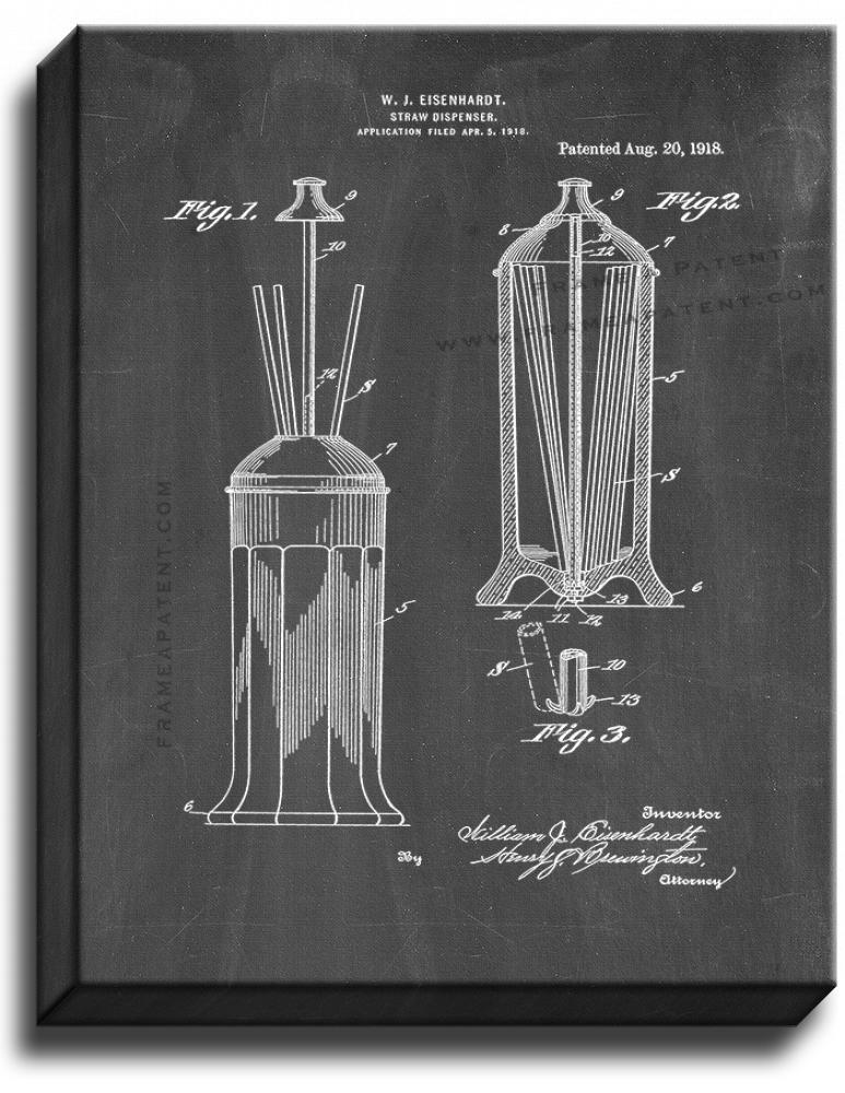 Primary image for Drinking Straw Dispenser Patent Print Chalkboard on Canvas