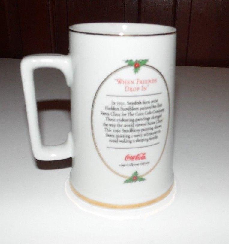 Coca Cola 1996 When Friends Drop In Santa Christmas Mug Cup Vintage
