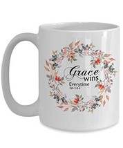 An item in the Pottery & Glass category: Scripture Mugs Grace Ephesians 2 Christian Bible White Floral Coffee Tea Cup