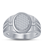Mens 10K White Gold Fn 925 Silver White Lab Diamond Big Look Pinky Ring Band - $103.99