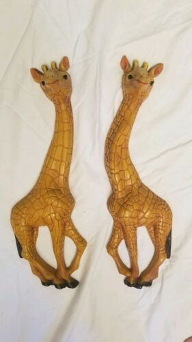"Vintage HOMCO Home Interior Pair Giraffe Wall Plaques 17 3/4"" Tall 1977"