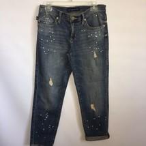 Rock & Republic Indee Boyfriend Hi Rise Slim Jeans Sz 6 Destroyed Paint ... - $34.60