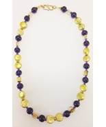 Golden Pearl and Vintage Purple Glass Bead Necklace Beaded Bohemian Boho... - $39.95