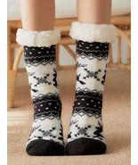 Women Christmas Elk Sock Plus Velvet Sleep Socks Casual Floor Socks - £12.39 GBP