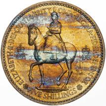 1953 UNITED KINGDOM 5 SHILLINGS CORONATION BU UNC STRIKING COLOR TONED G... - $197.99