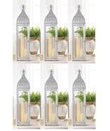 Set 6 Large Silver Moroccan Wedding Style Pilar Candle Lanterns - $191.95