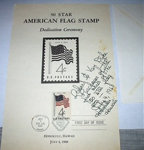 1960 Fdi 50 Star American FLAG,HAWAII-SIGNED - $45.00