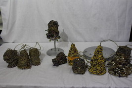 Vintage Lot of 9 Hand Beaded Lamp Shades and Fixtures - $119.99