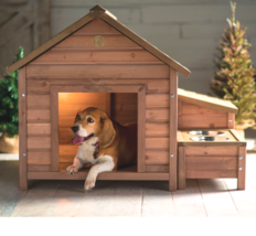Solid Wood A-Frame Outdoor Dog House Walnut Finish Food Bowl Storage Sec... - $234.97