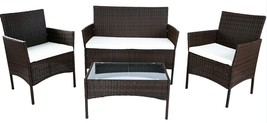 Sofa Seat Table Set Wicker Rattan Outdoor Patio Garden Furniture Cushion... - $279.61
