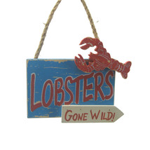 "WOODEN LOBSTER PLAQUE 4.25"" COASTAL NAUTICAL XMAS ORNAMENT ""LOBSTERS GON... - $9.88"