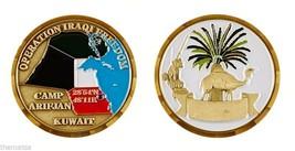 "CAMP ARIFJAN KUWAIT OPERATION IRAQI FREEDOM OIF 1.75"" CHALLENGE COIN - $16.24"