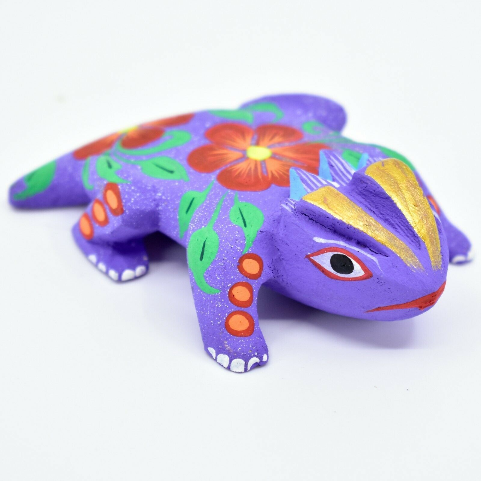 Handmade Alebrijes Oaxacan Copal Wood Carving Folk Art Horned Toad Figurine