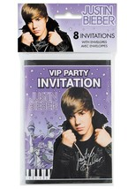 Justin Bieber Birthday Party Invitations 8 Per Package NEW - $2.56