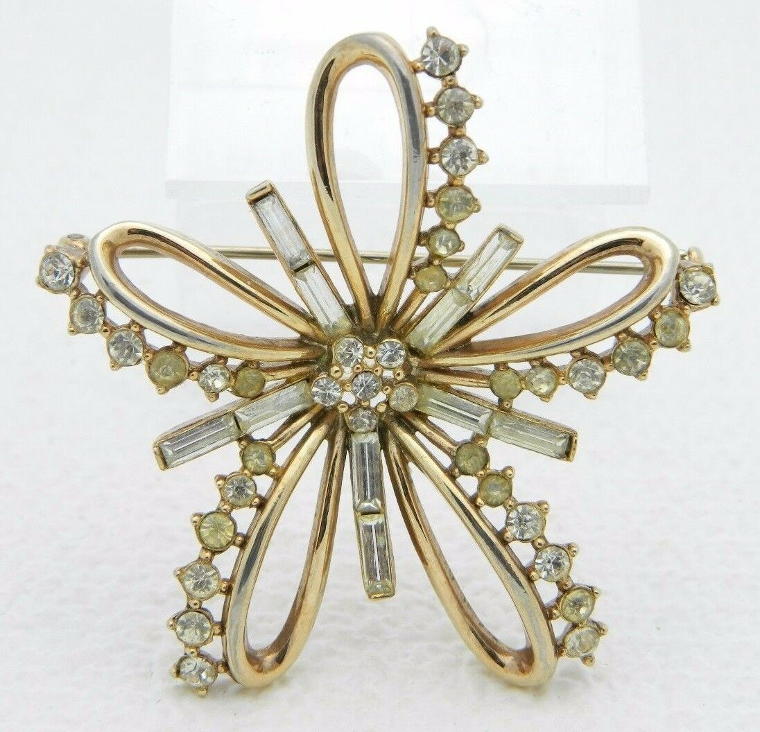 Primary image for VTG RARE 50's CROWN TRIFARI Patent Pending Clear Rhinestone Ribbon Pin Brooch B