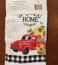 Sunflower Kitchen Set, 4-piece, Towels Pot Holders, Red Truck farmhouse decor image 2