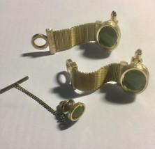 Vintage Rare Dante Genuine Jade Mesh Wrap Around Oval Cufflink Tie Tack Jewelry - $40.58