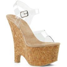 "PLEASER Sexy 6 1/2"" Wedge Heel Ankle Strap Cork Platform Clear Women's S... - $61.95"
