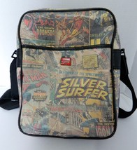 Marvel Comic Tote Bag Book Bat with Strap Zippered Pocket Inside Front P... - $19.68