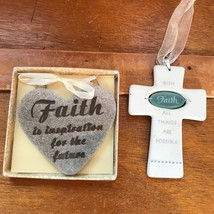 Lot of 2 Stone Tan Heart & White Porcelain Cross with FAITH Religious Ch... - $10.39