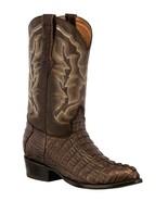 Mens Brown Western Boots Crocodile Tail Skin Genuine Leather Cowboy Roun... - €236,23 EUR