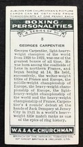 1938 WA & AC Churchman Boxing Personalities #8 GEORGES CARPENTIER (A) - $4.90