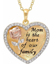 "Sterling Silver 18K Gold Plated ""Mom Is The Heart Of Our Family"" Heart Pendant - $25.00"