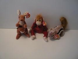 Ty Beanie Babbies Kangaroo Pouch, Monkey  Schweetheart, & Squirrel All 3... - $9.89