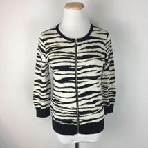 Ann Taylor Women's Zebra Print Full Zip Cardigan Sweater Size Small Petite - $16.82