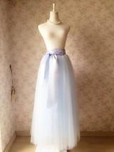 LIGHT BLUE Maxi tulle skirt Plus Size Wedding Petticoat Skirt 3 layer NWT image 4