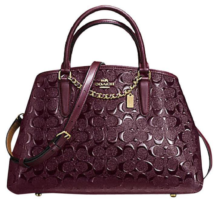 Primary image for Coach F55451 Small Margot Carryall In Signature Debossed Leather Oxblood NWT
