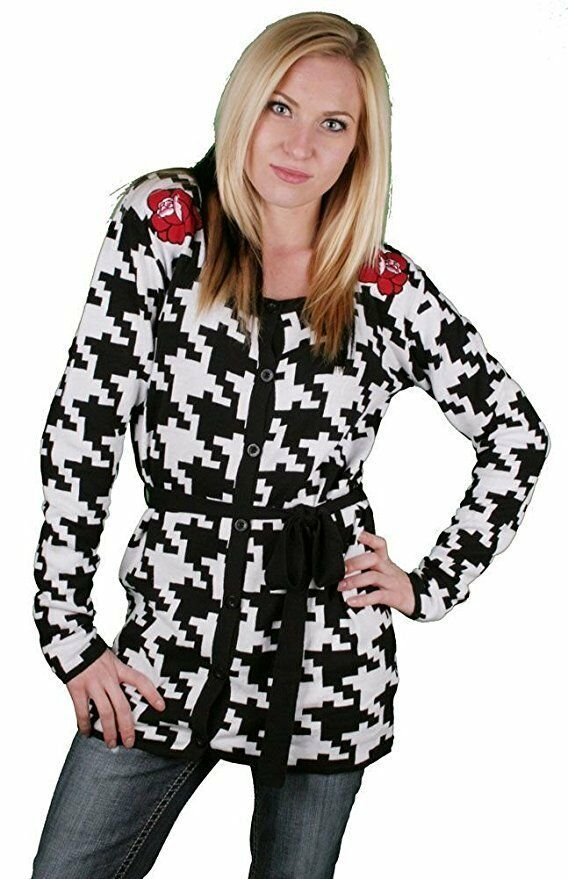 Iron Fist Women's On The Hunt Jacquard Hounds Tooth Cardigan NWT