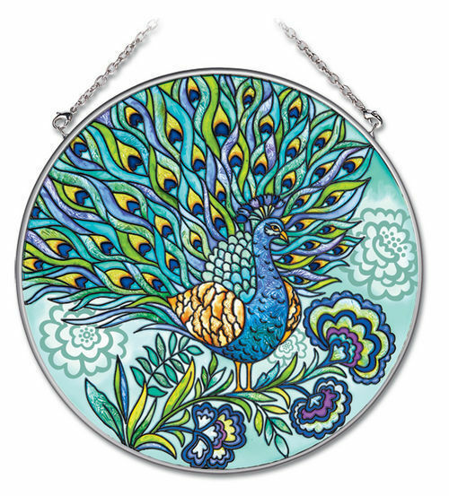 "Primary image for Peacock Sun Catcher AMIA Blue Feathers Hand Painted 6.5"" Large Round New"