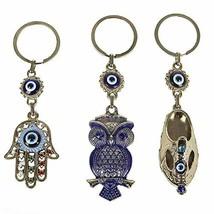 Bead Global Turkish Blue Evil Eye Keychain Amulet - Hamsa Hand of Fatima... - $7.26