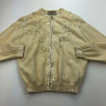 Vtg Belfair Cardigan Sweater 40 XXS Wool Angora Blend Hook Cream Beaded ... - $28.98