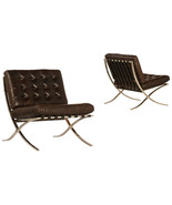 Dark Brown Top Grain Leather Lounge Chair Contemporary Stainless Steel, ... - $890.01