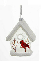 KURT S. ADLER GLASS WHITE GLITTERED BIRDHOUSE w/CARDINAL CHRISTMAS ORNAM... - $9.88