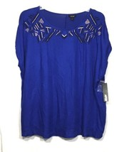 Apt 9 Womens Top Plus Size 2X Blue Embellished Stretch Slit Back Short S... - $15.44