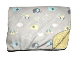 JUST BORN Gray Yellow Sherpa Baby Blanket Elephant Owl Cloud Stars Plush... - $22.64