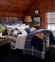Ralph Lauren Saranac Peak Corbet Queen Extra Deep Fitted Sheet Red Blue - $59.39