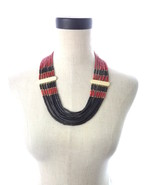 Vintage Bovine Bone with Red and Black Multi Strand Necklace Boho Ethnic - $80.00