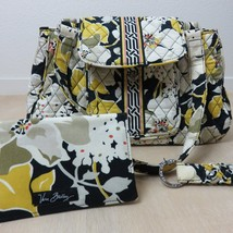 Vera Bradley Bag Purse Dogwood Floral Black Yellow Handbag Keychain Wall... - $79.19