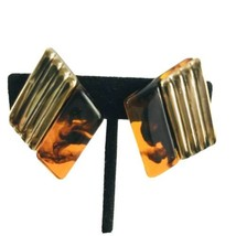 Vintage Tortoise Shell Clip-On Earrings GOLDTONE Accents Diamond Shaped ... - $8.54