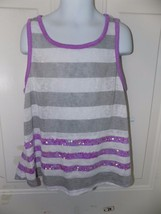Justice GrayWhite/Purple Striped Tank Top W/Sequence Size 12 Girl's EUC - $16.91