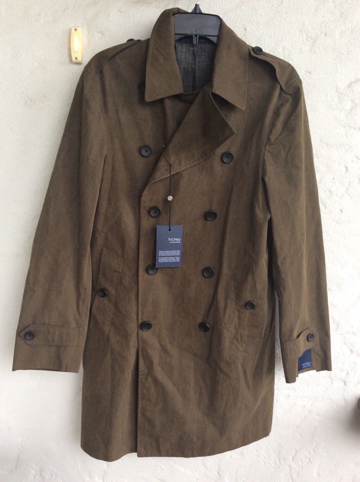 Primary image for $895.00 Hickey  Freeman Light Weight Lined Waxed Cotton top coat Olive Size 46 R