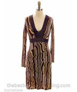 Custo Barcelona Stretch Knit Dress Abstract Leaf Print Designer Size 1 S - $67.07