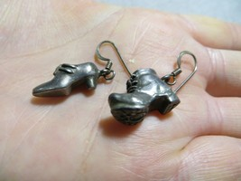 Vntg. 925 Sterling Old Boot Shoe/Woman High Heel Shoe Hook Dangle Earrin... - $24.99